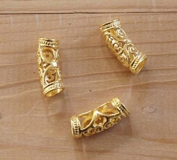 """Baard kralen  """" Keltische sierwerk """" goudkleurig  12 stuks"""