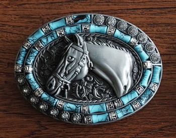"""Buckle  """" Paard met blauw en strass """""""