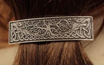 """Haarclip  """" Levensboom + keltische knoop """"  nikkelkleurig"""