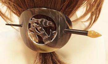 """Hoorn haarspeld + haarstokje """" Vogel op tak """" bruin / beige"""