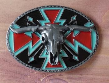 """Buckle / gesp  """" Stierenkop met indiaanse sierwerk """""""