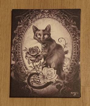 """Anne Stokes wanddecoractie  """" Kat met rozen """""""