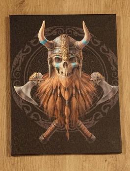 """Anne Stokes wanddecoractie  """" Viking skelet met bijlen """""""