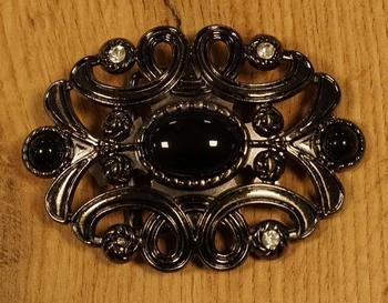 """Buckle  """" Bloemenmotief met zwarte stenen en strass """""""