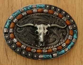 "Buckle "" Longhorn in vlammen "" zwart / zilver- / goudkleurig"