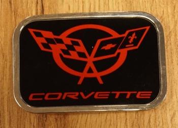 "Automerk buckle  ""  Corvette ""  zwart / rood"