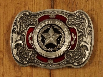 "Buckle  "" Texas ""   rood / nikkelkleurig"