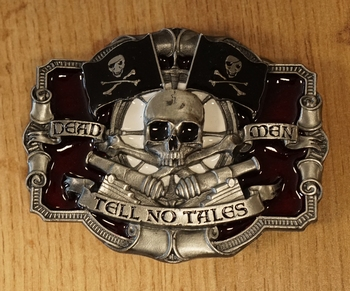"Belt buckle   "" Skelet met motorhelm """