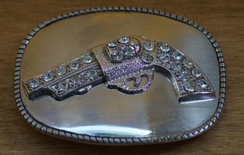 "Belt buckle  "" Pistool met strass """