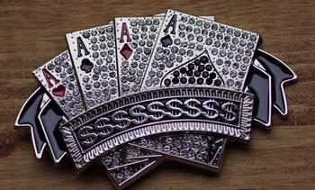 """Buckle """" 4 azen poker kaarten """"  zilverkleurig / glitter"""
