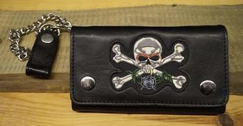 """Gothic portemonnee   """" Doodskop met botten """"   Zwart"""