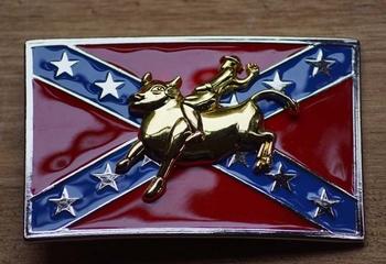 """Buckle / gesp  """" Rodeo rider op rebelvlag """""""