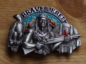 """Buckle / gesp  """" Brave & free """"   Indiaan"""