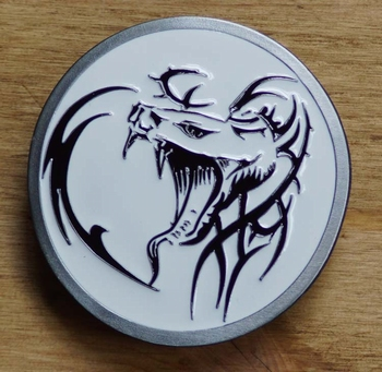 "Tattoo buckle / gesp  "" Celtic dragon's head """