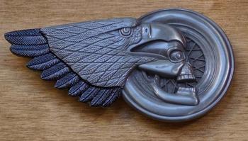 """Buckle  """" Motor wiel, doodskop en adelaar """""""