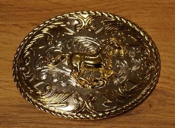 """Losse buckle  """" Paarden hoofden """"   Zilver- / goud kleurig"""