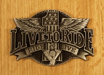 "Buckle "" Live to ride - ride to live ""  Adelaar"
