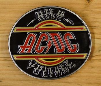 """Belt buckle  """" AC / DC """"   High voltage"""