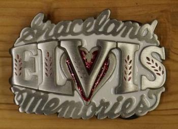 """Elvis buckle  """"  Graceland Elvis memories """"   Wit"""
