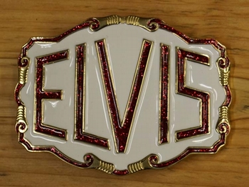 """Elvis buckle  """" Elvis """"  Wit / goud kleurig / rood glitter"""