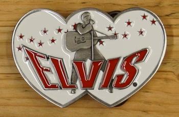 """Elvis buckle  """" Elvis met gitaar """"    Wit"""