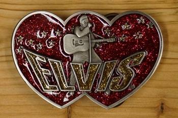"""Elvis buckle  """" Elvis met gitaar """"  Rood / goud glitter"""