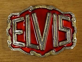 """Elvis buckle  """" Elvis """" Rood / zilver glitter UITVERKOCHT"""
