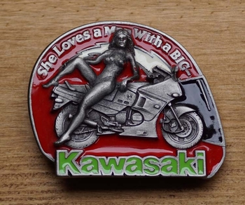 "Buckle / gesp  "" She loves a man With a big KAWASAKI  """