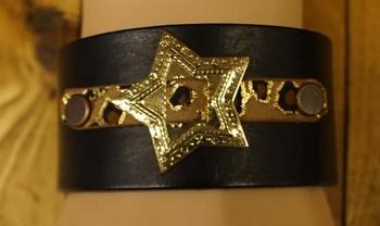 "Leren armband  "" Ster concho met panter print ""  Zwart"