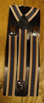 "Bretels 3-clips  "" Grijs / oranje / blauw """
