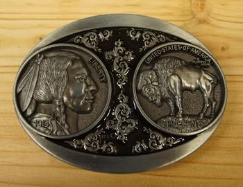 """Buckle / gesp  """" Indiaan + bizon """"    Zilverkleurig"""