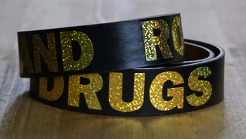 "Buckle riem "" Sex, drugs, rock and roll ""   Zwart"