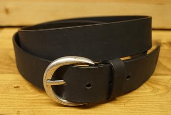 "Leren jeans riem zwart "" Vittozzi 185 ""  Zwart  4 cm breed"
