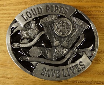 "Buckle / gesp  "" Loud pipes save lives ""  UITVERKOCHT"