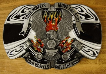 """Buckle / gesp  """"Four wheels move the body, Two wheels ... """""""