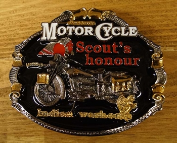 "Motor cylce buckle "" Scout's hounour Indian"" Zwart/zilver/go"