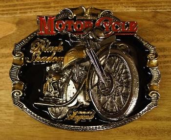 "Motor cylce buckle "" Black shadour "" Zwart/zilver/goud/rood"