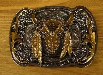 """Buckle / gesp  """" Buffalo schedel """"   Zilver- / goudkleurig"""
