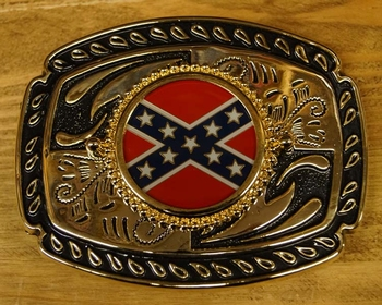 """Buckle / gesp  """" Rebel vlag op schild """" Goudkleurig / zwart"""