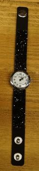 """Dames horloge """" Glitter zwart """"  met drukknopen"""