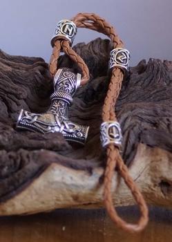"Leren armband  "" Thor hamer met runen teken kralen ""  Bruin"