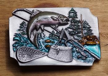"""Fishing buckle  """" Vissen, tas, hengel, schepnet """""""