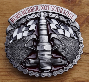 "Buckle / gesp  "" Burn rubber not your sail """