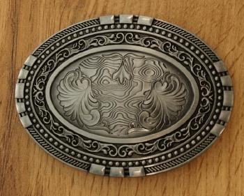"""Belt buckle  """" Bloemmotief met 2 turquoise stenen  """""""