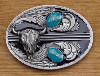 """Buckle / gesp  """" Buffalo kop met 2 turquoise stenen """""""