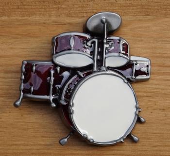 """Muziek gesp  """" Drumstel  """"  rood"""