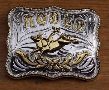 """Buckle / gesp  """" Rodeo """"   Zilver- / goudkleurig"""