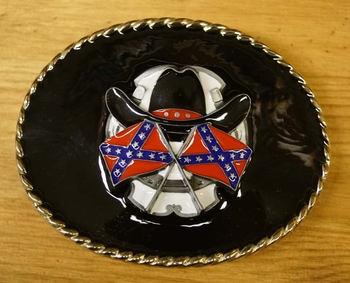 "Buckle "" Rebelvlaggen + cowboyhoed ""  zwarte achtergrond"