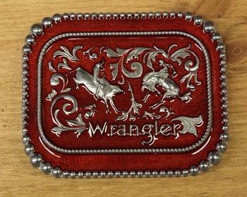 """Buckle / gesp  """" Wrangler """"   Rodeo  Rood / zilverkleurig"""