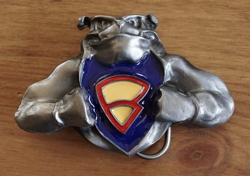 "Buckle  "" Bulldog met superman logo """